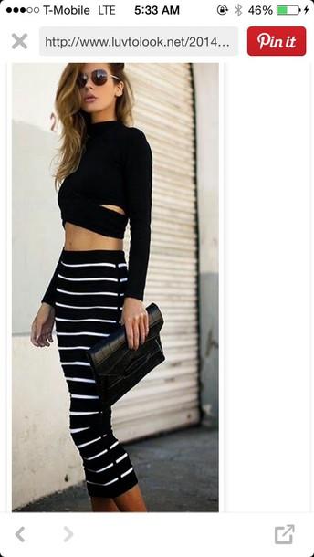 skirt black with white stripes