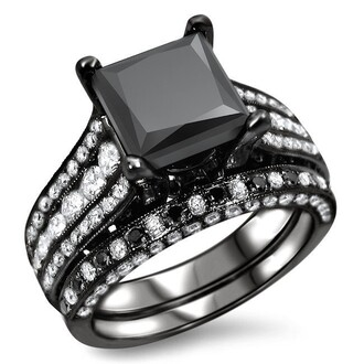 jewels black and white ring 2015 2015 fashion ring set with black and white diamond 2015 black gold plated silver bridal ring set 2015 new fashion black wedding ring set black and white diamond engagement ring and wedding band evolees.com black and white diamond engagement ring and wedding band set in black gold plated silver
