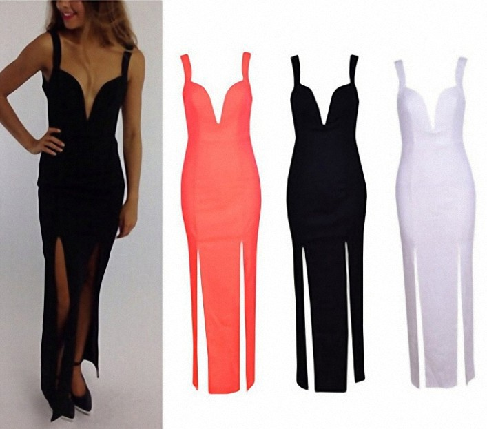Aliexpress.com : Buy Autumn Summer Dress 2014 Sexy Women Plunge V Neck Slit Front Bodycon Sheath Club Cocktail Maxi Long Dresses vestidos de festa from Reliable dress up black dress suppliers on BellyAnna Boutique Wholesale Store