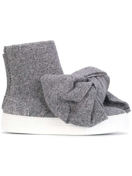 bow women leather grey shoes