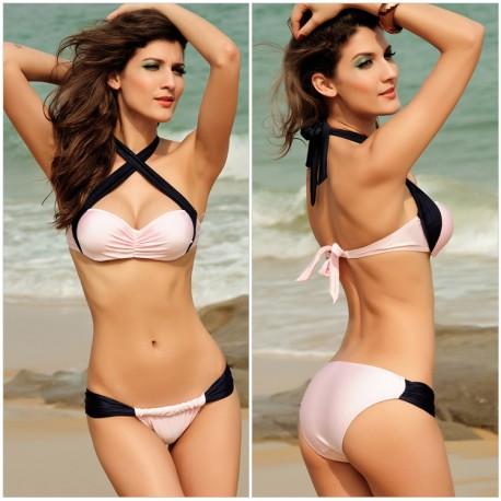 Luxurious Bikini Swimwear Black Cross Straps Halter Bikini lml5023 - lol-malls - Trustful Online Shopping for Women Dresses