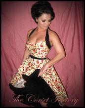 dress,rockabilly,halter neck,vintage,Pin up,bustier,red dress,black dress,corset,corset dress,halter dress