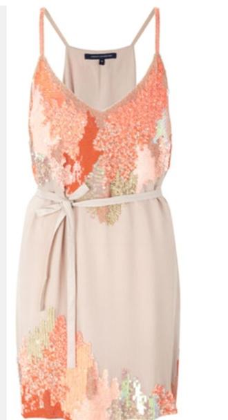 dress peach brown orange teal