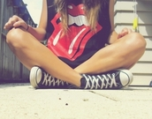 the rolling stones,tumblr,band t-shirt,shirt,converse,tongue,mouth,cute,t-shirt,black shoes,bag,tounge,rolling stones t shirt