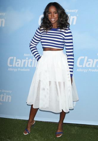 skirt midi skirt crop tops stripes striped top kelly rowland