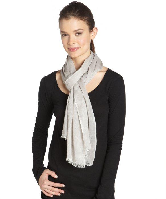 MAI latte cashmere and linen woven fringe summer scarf | BLUEFLY up to 70% off designer brands