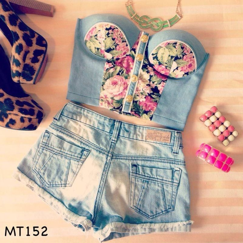 Denim Floral Bustier Crop Top XS M | eBay
