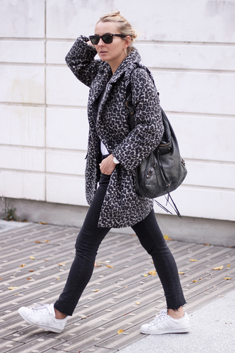 jane's sneak peak blogger coat animal print adidas shoes