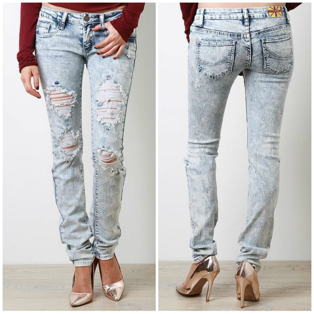 Jeans Destroyed Distressed Ripped Bleach Acid Women Jean DMP ...