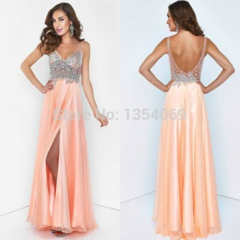 Aliexpress.com : buy new design long a line tank v neckline sleeveless crystal pink chiffon formal dress evening party dress custom made dyp219 from reliable evening dresses suppliers on roman holiday wedding dresses