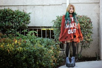 the river wolf blogger sweater dress ripped platform lace up boots grunge red sweater