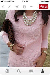 sweater,rose pink lace quarter sleeve sweater