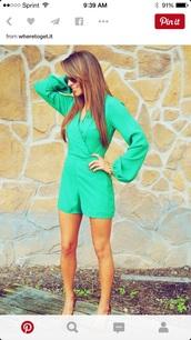 romper,green,cute,summer