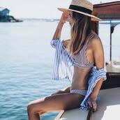 swimwear,hat,tumblr,swimwear two piece,bikini,bikini top,bikini bottoms,shirt,stripes,striped shirt,sun hat,holidays
