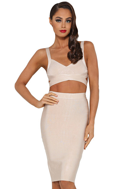 Cut Out Midi Two Piece Bandage Dress Nude