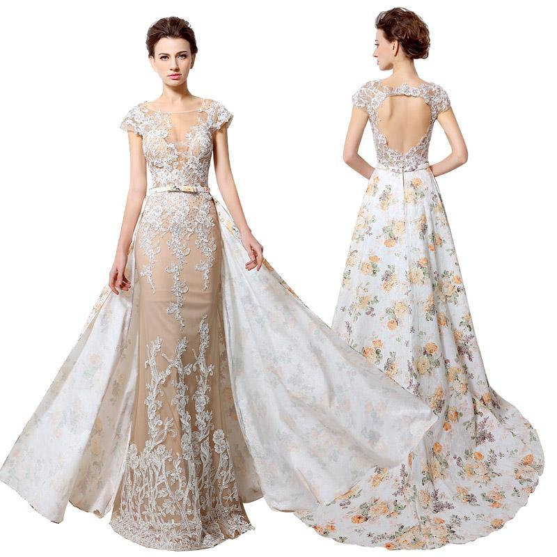 Arabic Prom Dresses Long Print Flowers Pattern Appliques Sweep Trian Capped Sleeves Elegant Open Back Formal Gown Watteau New Style Short Blue Prom Dresses Short Pink Prom Dresses From Lovemydress, $92.06| Dhgate.Com