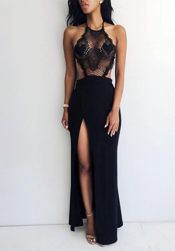 Black Lace Halter Neck Gown