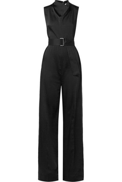 Victoria Beckham jumpsuit draped black satin