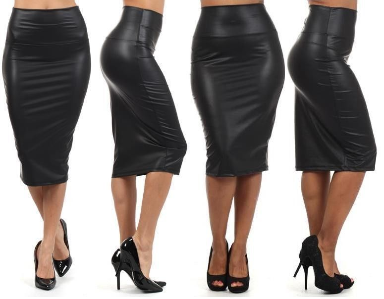 Women Black Faux Leather Pencil Skirt High Waist Sexy Below Knee ...