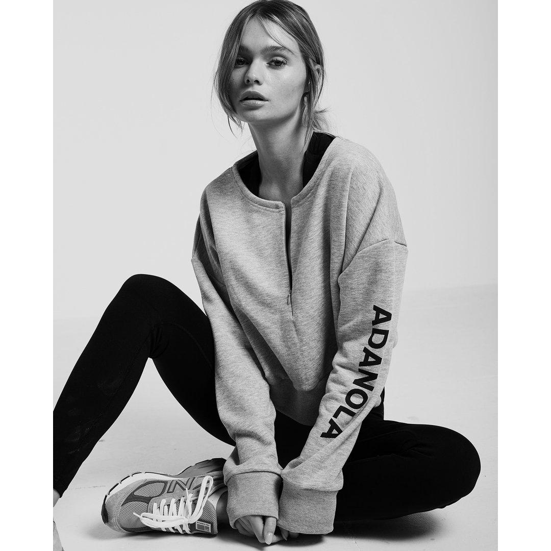 Branded Zip Pullover — Grey Marl