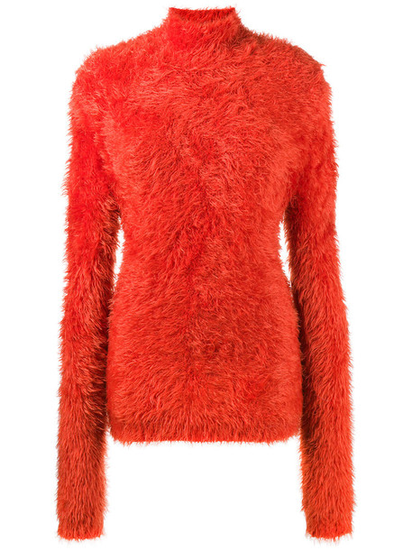 Marni - high neck chenille sweater - women - Polyamide - 38, Yellow/Orange, Polyamide