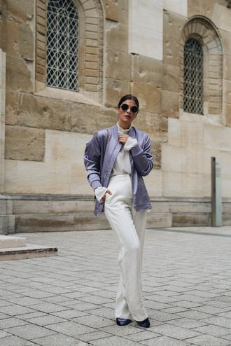jacket tumblr satin bomber bomber jacket top white top pants white pants wide-leg pants sunglasses blouse shoes