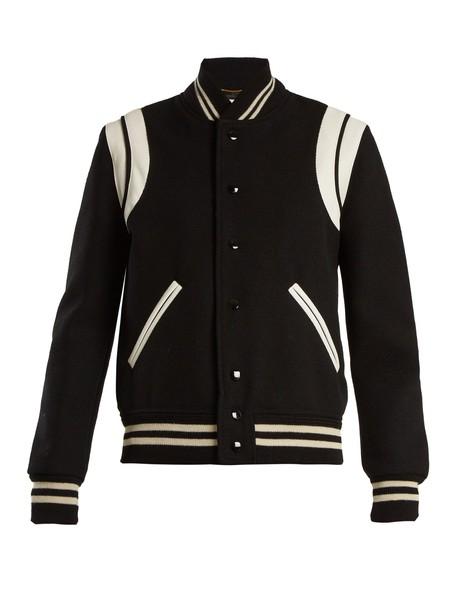 Saint Laurent jacket bomber jacket leather wool white black