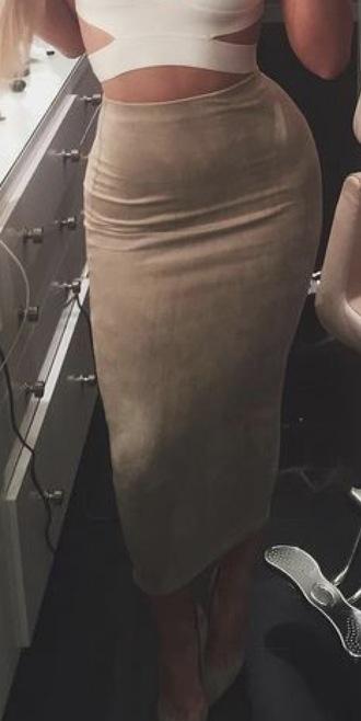 skirt suede high waisted pencil skirt