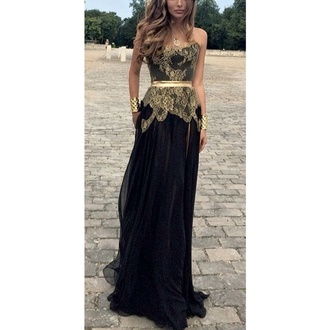 dress black and gold dress beautiful detail prom dress prom gown make-up nail accessories
