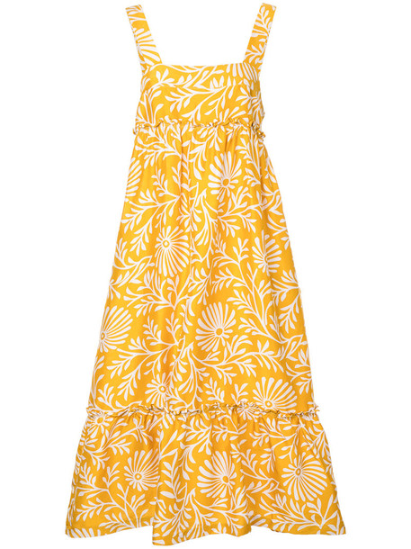 Lee Mathews dress women silk yellow orange