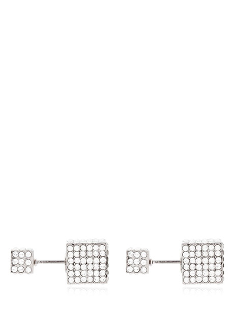 VITA FEDE Double Cubo Crystal Earrings in silver