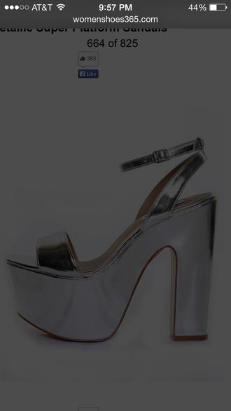 shoes platform matellic