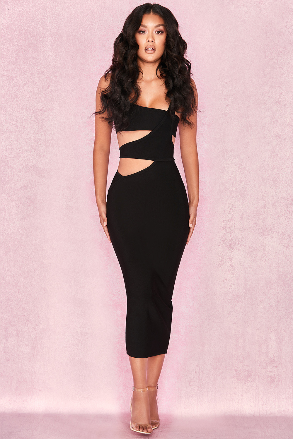 Clothing : Bandage Dresses : 'Miya' Black Bandage Cut Out Dress