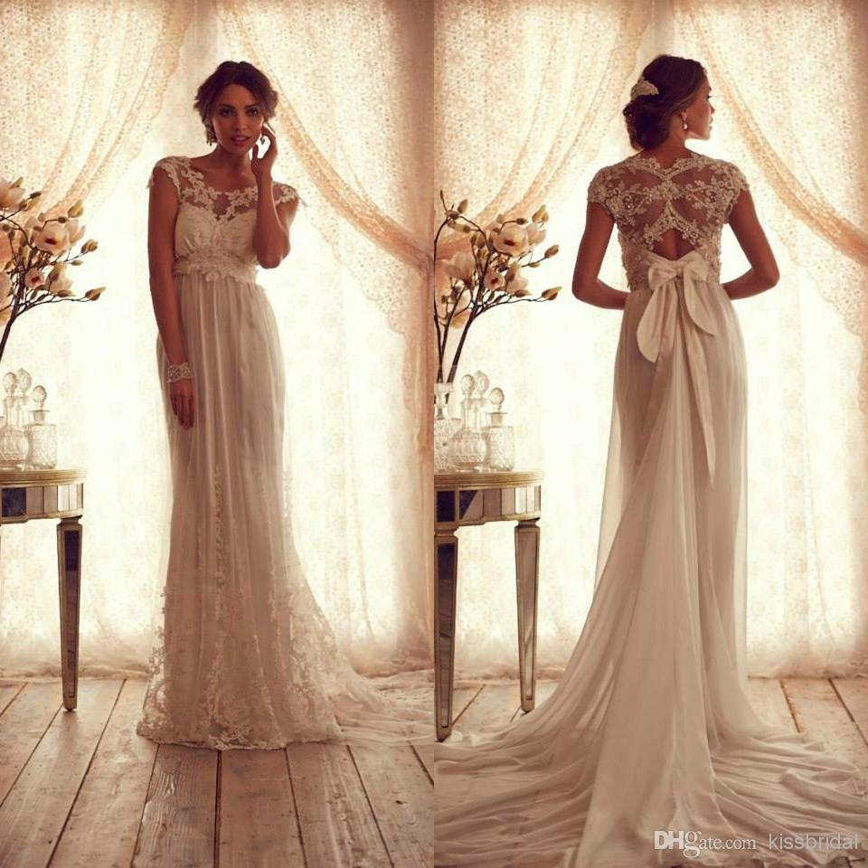 Cheap Sheer Wedding Dress - Discount Vintage Lace Tulle Wedding Dresses Sheer Crew Neckline Online with $164.95/Piece | DHgate