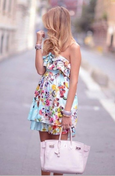 bright picture clothes floral short summer dress dress blue dress floral dress bright colored