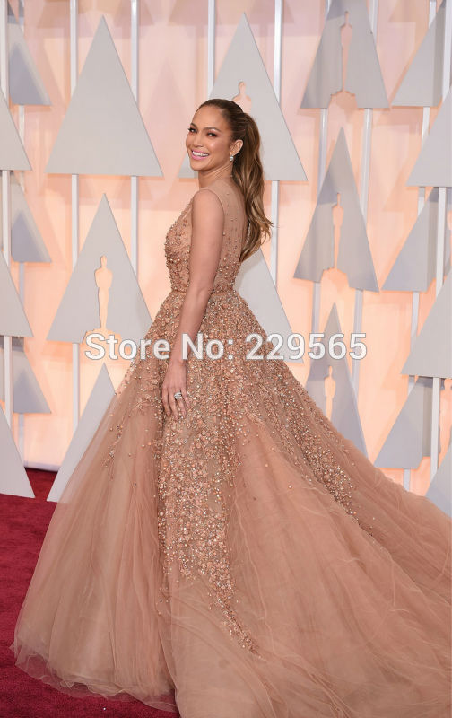 Aliexpress.com : Buy Jennifer Lopez Elie Saab Dress 2015 Oscar Awards Red Carpet Pearls Beaded Tulle Plunging V Neck Celebrity Formal Evening Gown from Reliable beads and findings for jewelry making suppliers on ASAP Bay Bridal | Alibaba Group