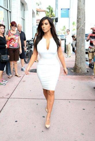 dress kim kardashian kardashians kim kardashian dress white dress bodycon dress