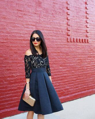 skirt tumblr midi skirt high waisted skirt lace top lace blue skirt blue top off the shoulder off the shoulder top three-quarter sleeves metallic clutch clutch gold bag sunglasses black sunglasses red lipstick lipstick