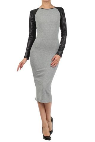 Faux Leather Sleeve Jersey Dress (faux leather dress, jersey dress)   Dresses   Jaydes Boutique