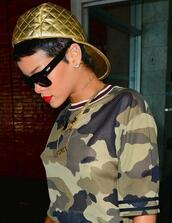 t-shirt,rihanna,hat,urban,camouflage,gold,cap,dope