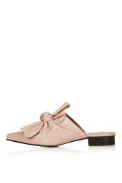 shoes,bow shoes,leather shoes,mules,blush pink,pink shoes,nude shoes
