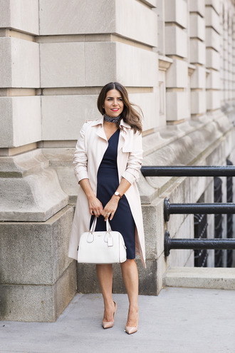 the corporate catwalk blogger dress coat bag scarf jewels
