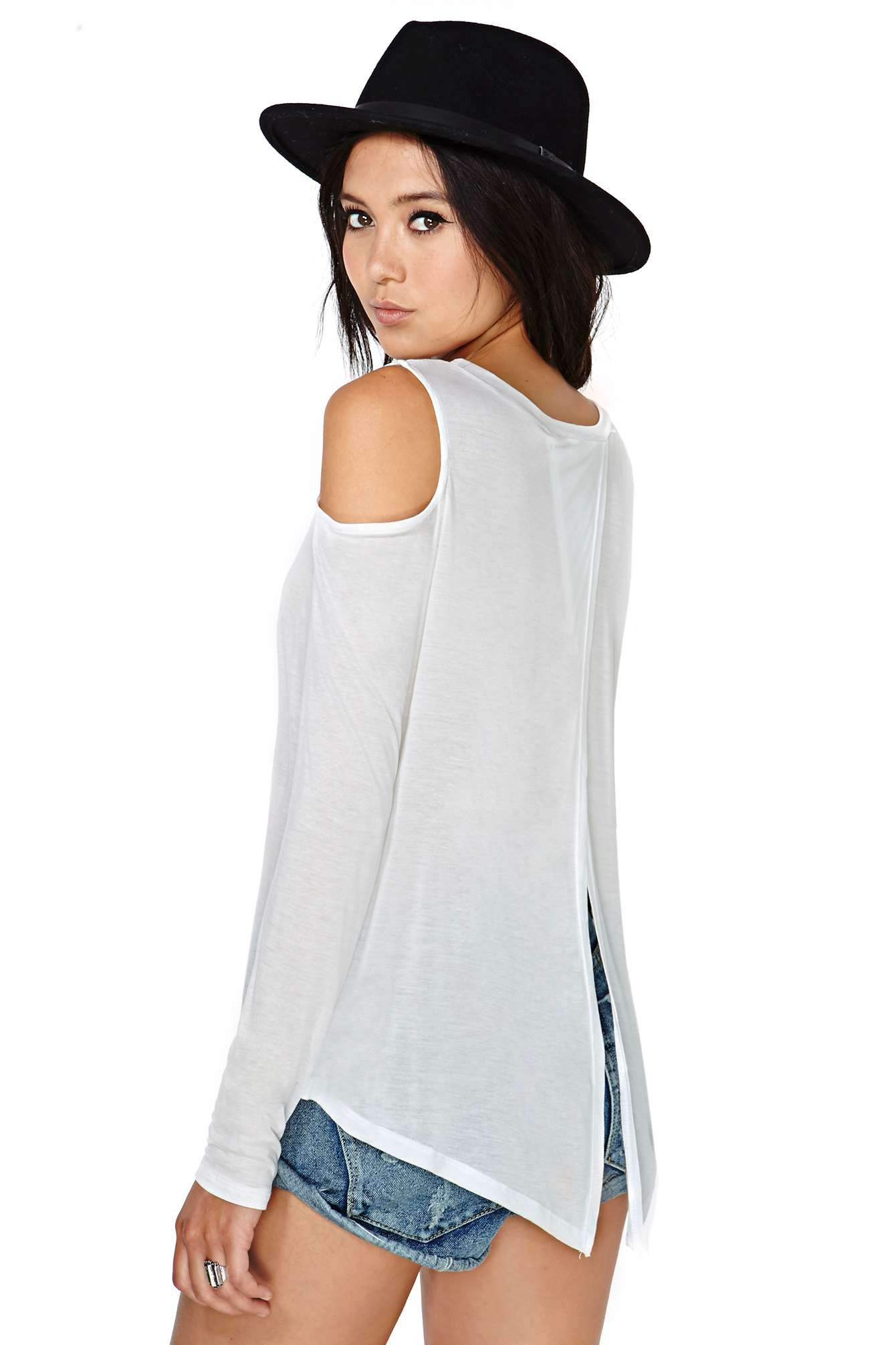 White Long Sleeve Cutout Shoulder Wrap Back T-shirt - Sheinside.com