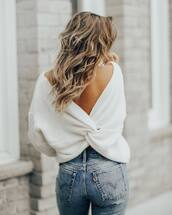 sweater,white sweater,tumblr,knit,knitted sweater,open back,open back top,backless,backless sweater,backless top