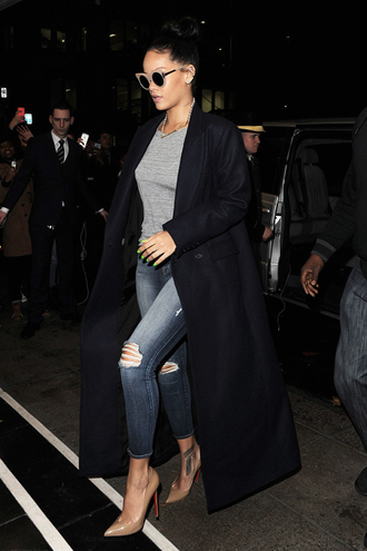 coat dark blue coat long coat winter coat ripped jeans blue jeans grey top green nail polish candid streetstyle classy