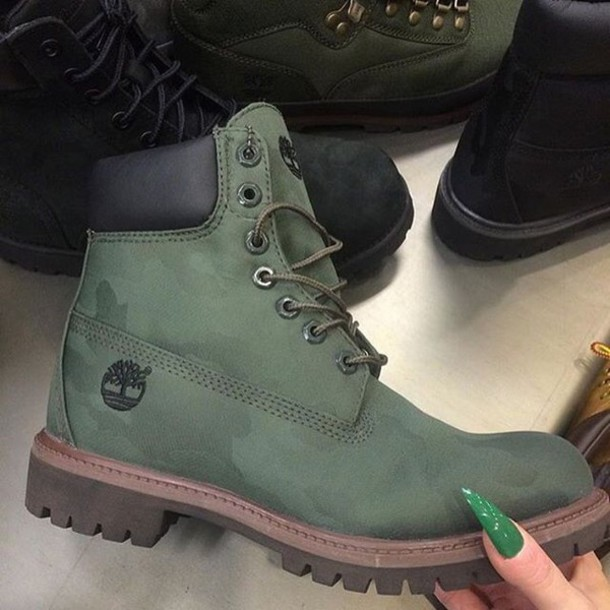 shoes timberland army green boot lace up timberland