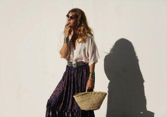 my daily style blogger skirt shoes v neck white top maxi skirt blue skirt printed  skirt basket bag straw bag