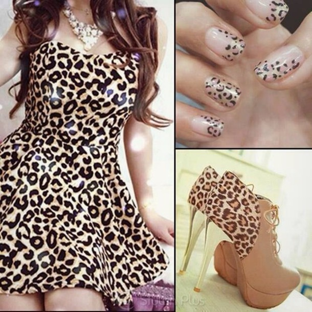 Dress Cheetah Dress Nails And
