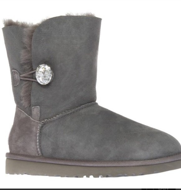 ugg boots, swarovski, jewels, jewel button, ankle boots, grey, winter outfits, winter boots, fashion, style, shoes - Wheretoget