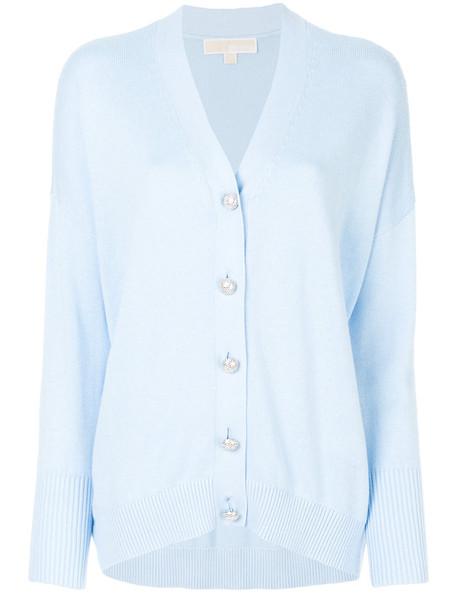 cardigan cardigan women embellished cotton blue sweater